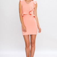 Neon Coral Ruffle Wrap Detail Dress