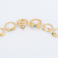 Free Gift -Random Necklace +6 PCS Vintage Bohemia Ring Set +GIFT BOX !