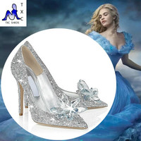 2016 Cinderella glass slipper with money pointed high-heeled leather fine with rhinestone sequins glass bridesmaid wedding shoes