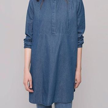 Chambray Tunic Top - Medium Blue / Long Sleeves