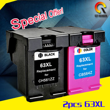 2pcs 1 set Compatible for HP63XL for hp DESKJET 3630 3632 Officejet 4652 4655 ENVY 4522 printer For HP 63 XL ink cartridge