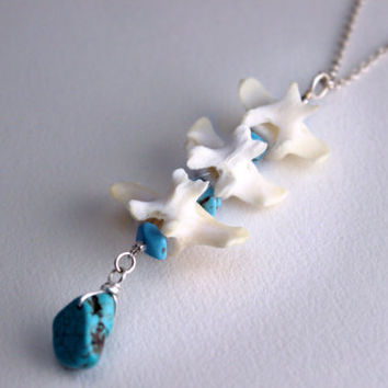 Coyote Vertebrae & Turquoise Lariat Necklace