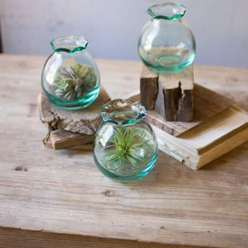 Recycled Clear Glass Ball Bud Vase