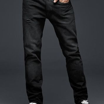 Gap Men 1969 Slim Fit Jeans Black Tint Distressed Wash