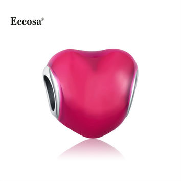 1Pcs Original Silver Plated Rose Red Enamel Love Heart Charms Beads Fit For Diy Pandora Charm Bracelets Perles Jewelry Gift