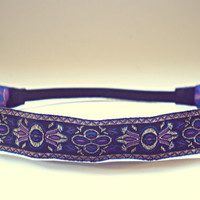 Hippie Headband Gold Purple and Blue Bohemian Headband Tribal Headband Indie Womens Hair Accessories