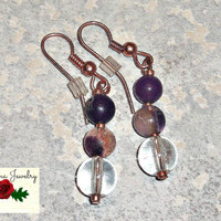 "Earrings:Amethyst, Fluorite, Quartz and Copper ""Grounded and Whole"""