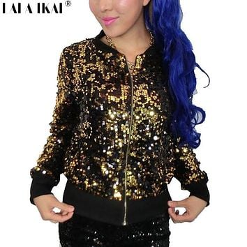 Women Gold Sequin Jacket Silver Glitter Coat Sparkle Bling Jazz Coat Girl Metallic Outerwear SWF0095-5