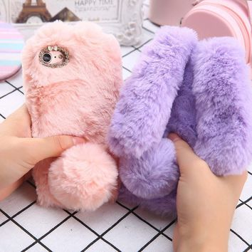 Fashion Fluffy Rabbit Phone Cases for iphone 7 6 6s Plus