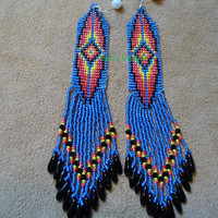 Native American style square stitched earrings
