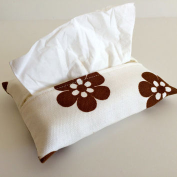 Travel Tissue Holder Kleenex Pouch in Brown Flower