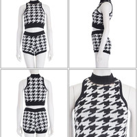 """Genuine ◆ """"t / houndstooth short knit t (tank top)"""""""