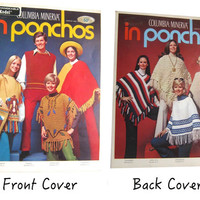 Vintage Poncho Pattern Leaflet, 1970 Poncho Patterns, Columbia Minerva In Poncho 8 Poncho Knitting and Crochet Patterns Vintage 70s Patterns