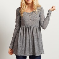 Charcoal-Button-Front-Babydoll-Top