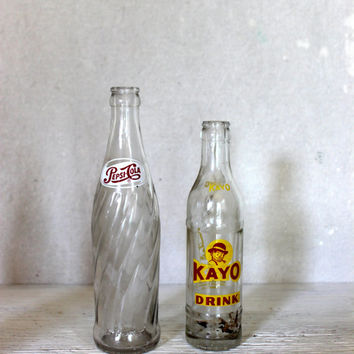 two vintage soda pop bottles // 1960s // pepsi kayo // instant collection