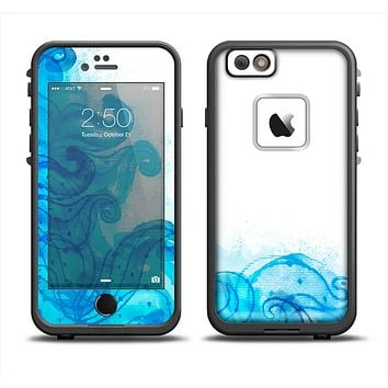 The Blue Water Color Flowers Apple iPhone 6 LifeProof Fre Case Skin Set