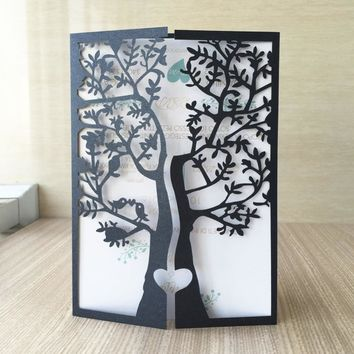 50/pcs wedding party invitaiton card wedding place cards latest invitation card laser cut tree with love birds design  QJ-178