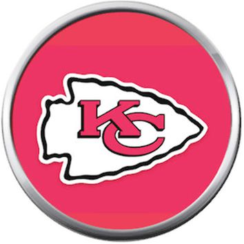 Kansas City Chiefs NFL Logo On Red Football Lovers Team Spirit 18MM - 20MM Snap Jewelry Charm
