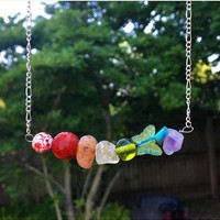 Funky Hippie Chakra Necklace with cherry quartz, Carnelian, Citrine, Turquoise and amethyst