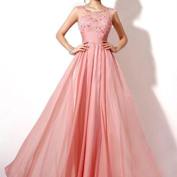 100% Real Image Lace Chiffon Long Bridesmaid Dresses Coral Lilac In Stock Sheer Neck Cap Sleeve Maid Of Honor Wedding Gowns