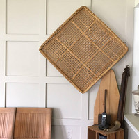 Large Wall Basket, Vintage Tobacco Basket, 32 Inch Square Flat Basket, Rattan Hanging Wall Basket, Boho Woven Wall Decor