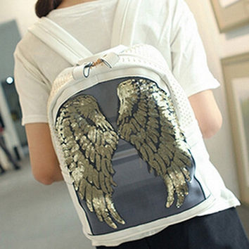 White Sequined Wing Backpack