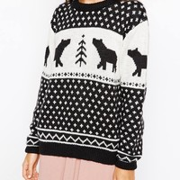Brave Soul Polar Bear Aztec Christmas Jumper at asos.com