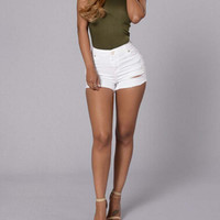 White High Waist Denim Short