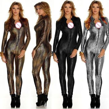 M-XXL Hot Sexy Night Club Rompers Women Front Zip Long Sleeve Bodysuit  Cat Women Fetish Faux Leather Snake Skin Jumpsuit