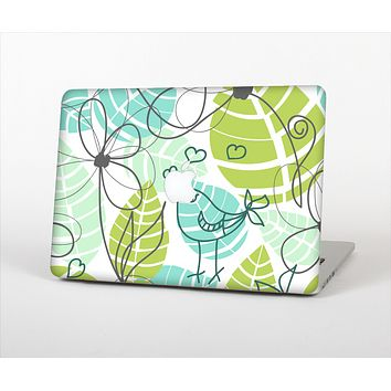 The Green & Blue Subtle Seamless Leaves Skin Set for the Apple MacBook Pro 13""