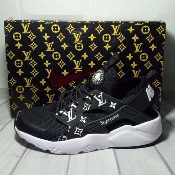 Tagre™  Nike x Supreme x Louis Vuitton Black/White Air Huarache Fashion Luminous Shoes Sneakers