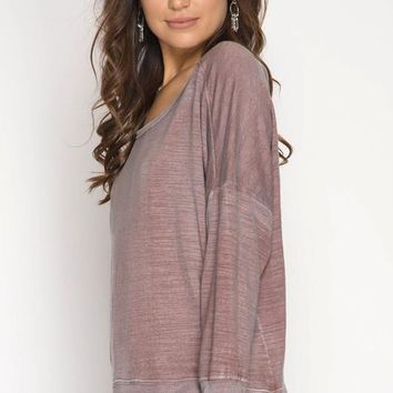 Open Back Pigment Washed Top - Dusty Rose