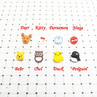 2 in 1 Yellow Duck Kitty Penguin Dear Owl iPhone 4 4S 5 5C 5S 6 Plus Data Port Dust Plug Home Button Sticker
