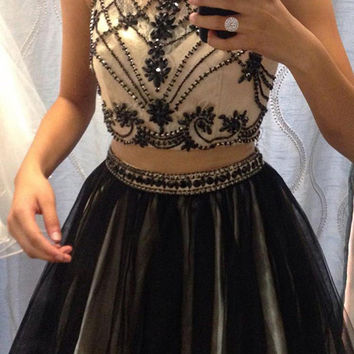 2017 Two Piece Prom Dresses High Neck Beaded Back Beadings Champagne Satin Sexy Short Prom Dress Homecoming Gowns