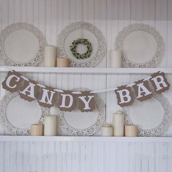 Candy Bar Festival Colorful Paper Flag Party Decoration Bunting Garland Handmade Wedding Banner Event Home Decorative Decor