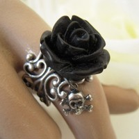Goth Black Rose Skull Ring Antique Silver Ring by bellamantra