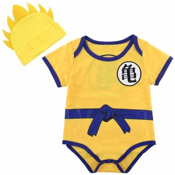 2PCS Baby Boy Dragon Ball Z Bodysuit Vegeta Costume Infant with Hat Cute Set