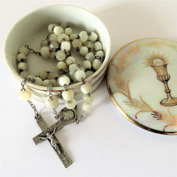 Antique French, Mother Of Pearl And Silver Rosary And Limoges Box