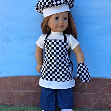 18 Inch Doll Apron, Chef's Hat, Oven Mitt, Race Day Doll Apron, Black and White Checked Chef's Set, fits American Girl Dolls
