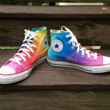 custom hand painted rainbow high top converse tie dye rainbow ombre hi top converse sh