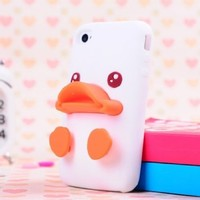 Lewire Three-dimensional Cute Duck Soft Silica Gel Phone Case For iPhoe 4/4s Color White