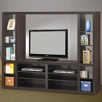A.M.B. Furniture & Design :: Living room furniture :: Entertainment centers :: Espresso finish wood sleek design entertainment center wall unit