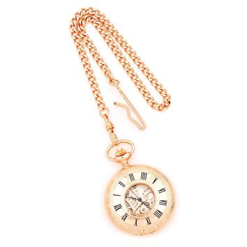 Charles Hubert Rose Gold Finish Brass Window Cover Pocket Watch