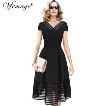 Vfemage Women Elegant Sexy See-Through Mesh V-neck Vintage Pinup Tunic Casual Party Cocktail Prom Swing Skater A Line Dress 7368
