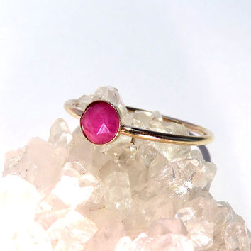Ruby Ring, Gold Ruby Ring, Ruby stacking ring, July Birthstone Ring, July Gemstone Ring, Gold stacking ring, Gemstone stacking ring