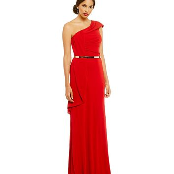 David Meister One Shoulder Belted Ruffle Gown | Dillards
