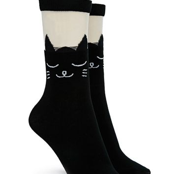 Cat Mesh Panel Crew Socks