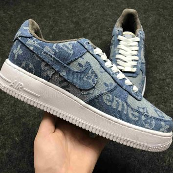 Best Online Sale Supreme x LV x Nike Air Force One 1 Denim Sport Shoes Casual shoes 318775-046