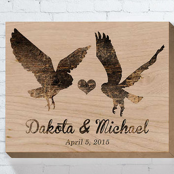 Owl Couple, Wedding Wood Sign, Personalized Wedding Gift, Wedding Gifts For Couple, Bridal Shower Gift, Engagement Gift, Anniversary Gift