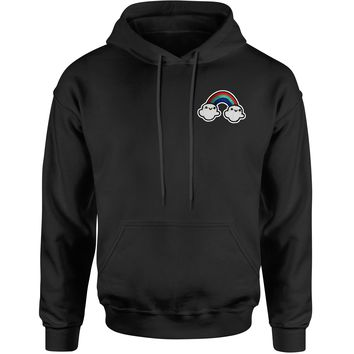 Embroidered Rainbow With Clouds Patch (Pocket Print) Adult Hoodie Sweatshirt